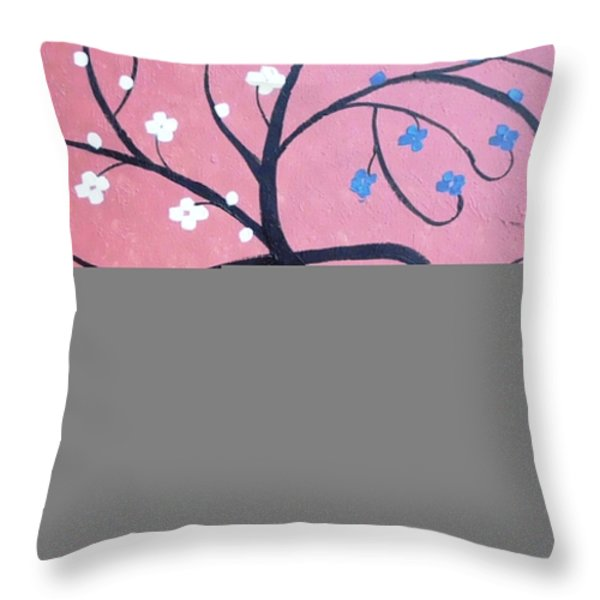 Pink Tree Throw Pillow by Dawn Plyler