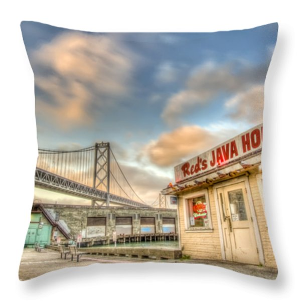 Red's And The Bay Bridge Throw Pillow by Scott Norris