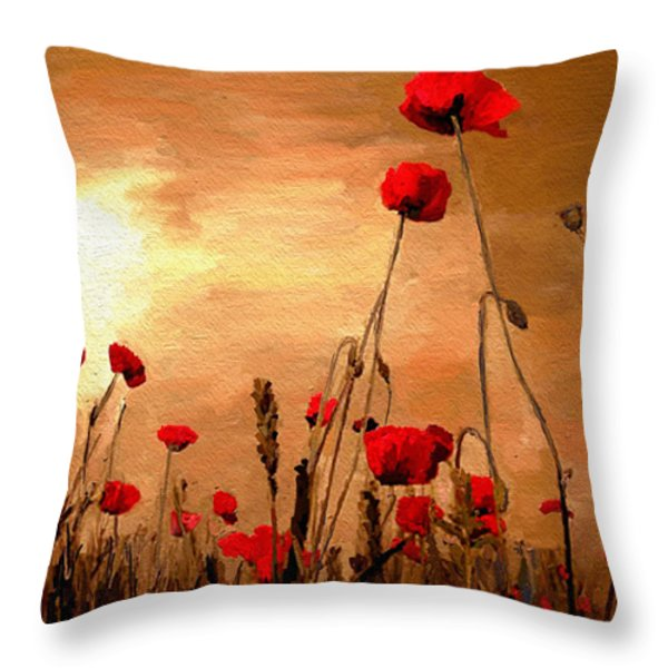 Sunset Poppies Throw Pillow by James Shepherd