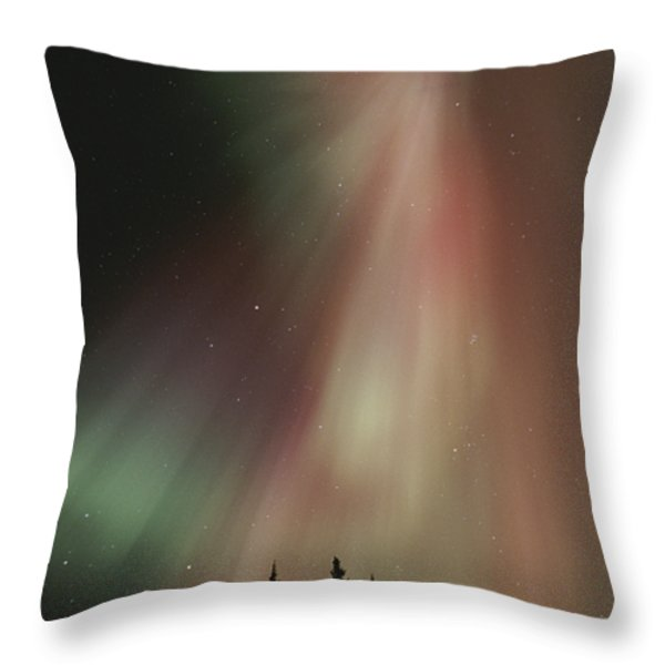 The Aurora Borealis Illuminates The Sky Throw Pillow by Paul Nicklen