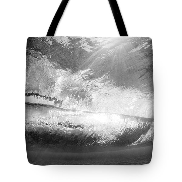 Black And White View Under Wave Tote Bag by MakenaStockMedia - Printscapes