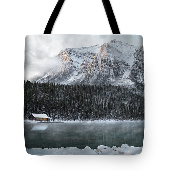Cozy Cabin Morning Tote Bag by Andrea Hazel Ihlefeld