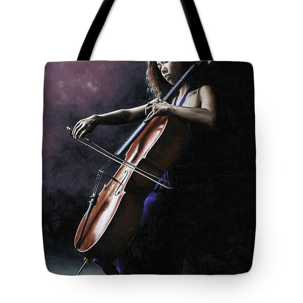 Emotional Cellist Tote Bag by Richard Young