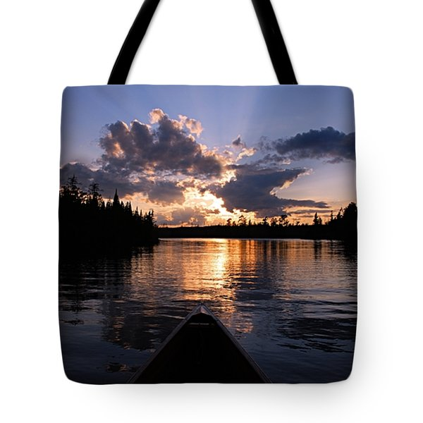 Evening Paddle On Spoon Lake Tote Bag by Larry Ricker