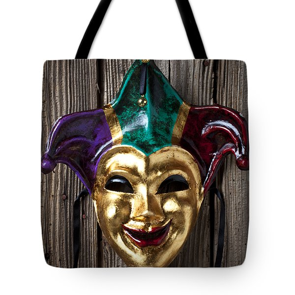 Jester Mask Hanging On Wooden Wall Tote Bag by Garry Gay