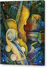 Jazzy Cello Acrylic Print by Susanne Clark