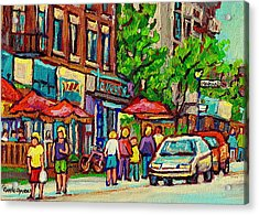 Monkland Tavern Corner Old Orchard Montreal Street Scene Painting Acrylic Print by Carole Spandau