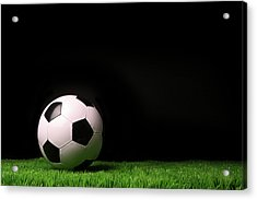 Soccer Ball On Grass Against Black Acrylic Print by Sandra Cunningham