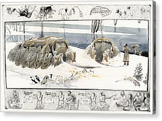 A Painting Depicts Ice Age People Acrylic Print by Jack Unruh