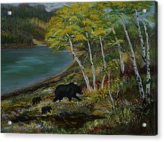Bear Country Acrylic Print by Leslie Allen