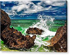 Blue Meets Green Acrylic Print by Christopher Holmes