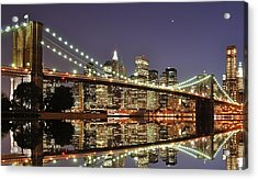 Brooklyn Bridge At Night Acrylic Print by Sean Pavone