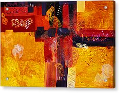 Byzantine Times An Abstract Painting Of Geometric Shapes Acrylic Print by Phil Albone