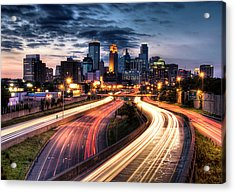 Downtown Minneapolis Skyscrapers Acrylic Print by Greg Benz
