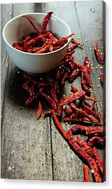 Dried Chilies In White Bowl Acrylic Print by Lina Aidukaite