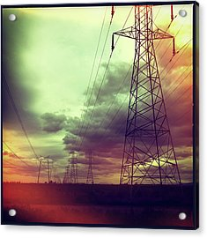 Electricity Pylons Acrylic Print by Mardis Coers