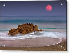 Full Moon Over Ocean And Rocks Acrylic Print by Melinda Moore