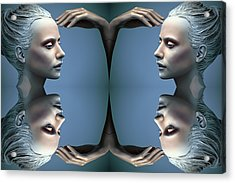 Heads As One Thought Acrylic Print by Jez C Self