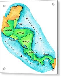 Map Of Central America Acrylic Print by Jennifer Thermes