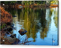 Morning Reflections On Chad Lake Acrylic Print by Larry Ricker