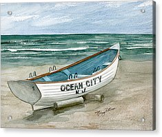 Ocean City Lifeguard Boat Acrylic Print by Nancy Patterson