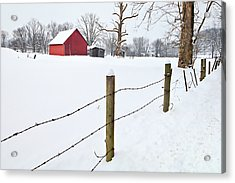 Red Barn And Fresh Snow - D006392a Acrylic Print by Daniel Dempster