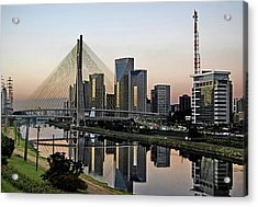 Stayed Bridge And Modern Sao Paulo Skyline Acrylic Print by Carlos Alkmin