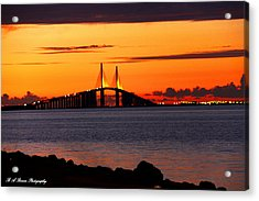 Sunset Over The Skyway Bridge Acrylic Print by Barbara Bowen