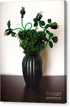 Green Energy Floral Arrangement Of Electrical Plugs Canvas Print by Amy Cicconi