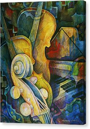 Jazzy Cello Canvas Print by Susanne Clark