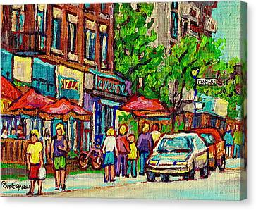 Monkland Tavern Corner Old Orchard Montreal Street Scene Painting Canvas Print by Carole Spandau