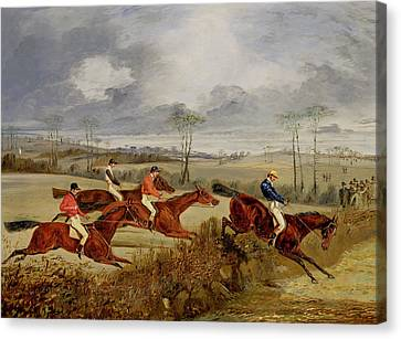A Steeplechase - Near The Finish Canvas Print by Henry Thomas Alken