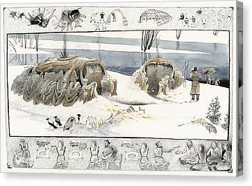 A Painting Depicts Ice Age People Canvas Print by Jack Unruh