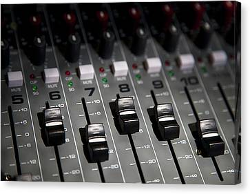 A Sound Mixing Board, Close-up, Full Frame Canvas Print by Tobias Titz