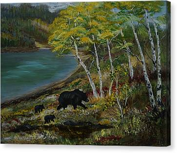 Bear Country Canvas Print by Leslie Allen