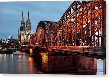 Cologne Cathedral At Dusk Canvas Print by Vulture Labs