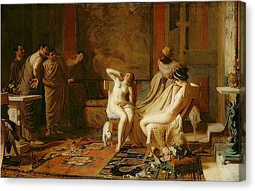 Female Slaves Presented To Octavian Canvas Print by Remy Cogghe