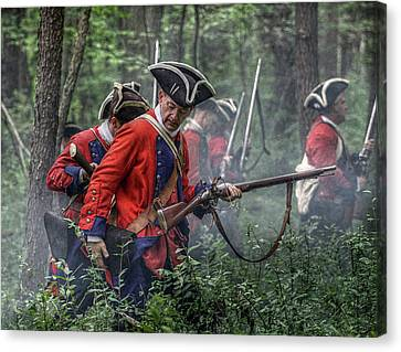 Fight In The Forest Bushy Run 1763 Canvas Print by Randy Steele