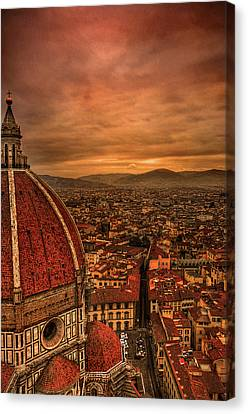 Florence Duomo At Sunset Canvas Print by McDonald P. Mirabile