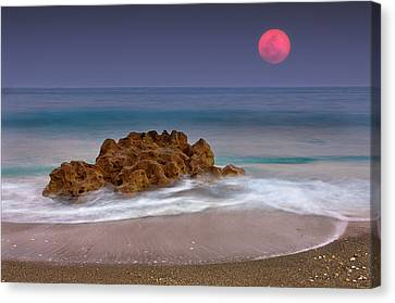 Full Moon Over Ocean And Rocks Canvas Print by Melinda Moore