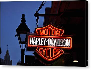 Harley Davidson New Orleans Canvas Print by Bill Cannon
