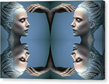 Heads As One Thought Canvas Print by Jez C Self