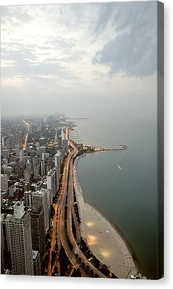 Lake Michigan And Chicago Skyline. Canvas Print by Ixefra