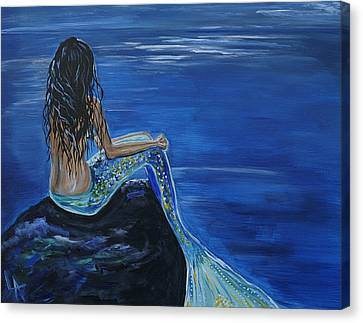 Mermaid Enchantment Canvas Print by Leslie Allen