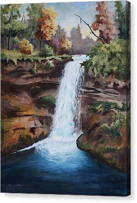 Minnehaha In The Fall Canvas Print by Brenda Thour