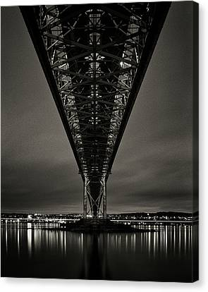 Night View Of Forth Road Bridge Canvas Print by Mark Voce Photography