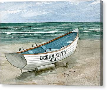 Ocean City Lifeguard Boat Canvas Print by Nancy Patterson