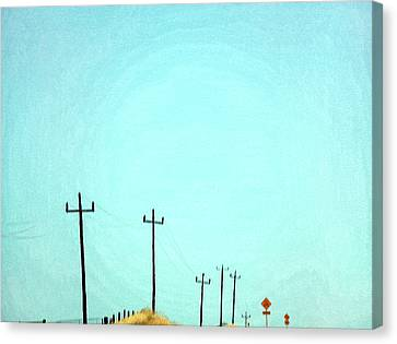 Painting Of Telegraph Poles Canvas Print by Virginia Star