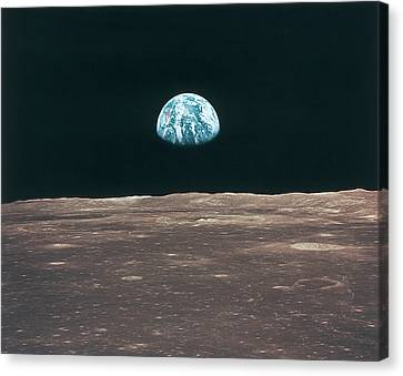 Planet Earth Viewed From The Moon Canvas Print by Stockbyte