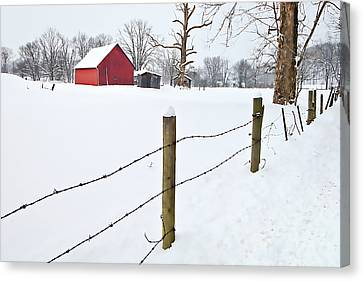 Red Barn And Fresh Snow - D006392a Canvas Print by Daniel Dempster